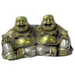 Golden Lotus - Oriental Rustic Metal Double Happy Buddha Statue Figure Hws993 - This is a nicely made oriental small two-color silver & gold Happy Buddha Figure with a rustic polish vintage finish look.