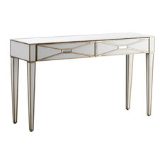 White and Gold Mirrored 2-Drawer Console Table