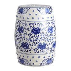 "Lotus Flower 17.8"" Ceramic Drum Garden Stool, Blue and White"