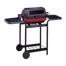 MECO Corporation - Electric Cart Grill With Polymer Side Tables, Wire Shelf and Rotisserie - Outdoor Grills