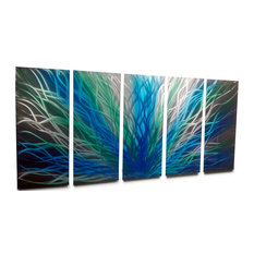 Metal Wall Art Decor Abstract Contemporary Modern- Radiance Large Blue Green