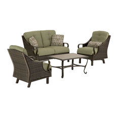 Bradford 4-Piece Woven Patio Set, Brown and Olive