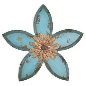 Stratton Home Decor Grey Framed Metal Flower S21052 Farmhouse Wall Accents By Stratton Home Decor