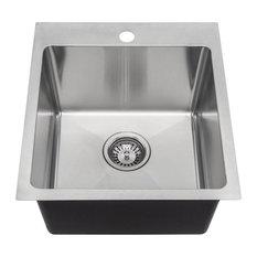 MR Direct T1717 Topmount Single Bowl 3/4-Inch Radius Kitchen Sink, Sink Only