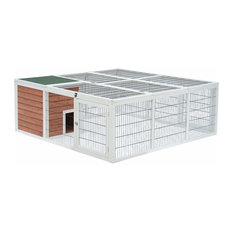 """PawHut 64"""" Wooden Outdoor Rabbit Hutch Playpen With Run and Enclosed Mesh Cover"""