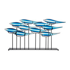 """Tultui Ice Blue 22"""" Glass and Metal Table Art, Large"""