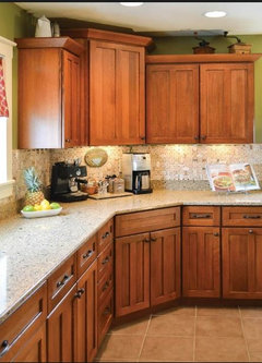 Sage green walls + Oak Cabinets = ?? Backsplash