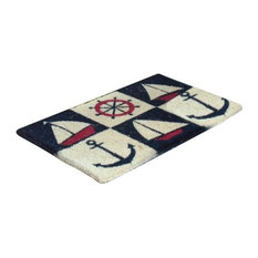 "Vinyl Backed Nautical Printed 0.5"" Thick Coco Doormat"
