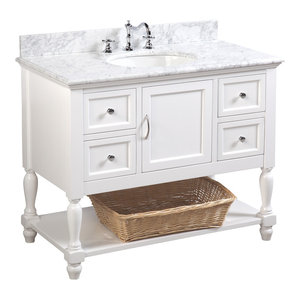 "Beverly Bath Vanity, Base: White, 42"", Top: Carrara Marble"