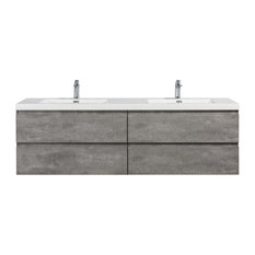 Alma-Pre Wall Mount Vanity With White Sink Cement Gray 72-inch