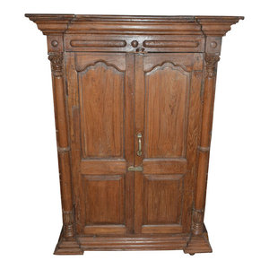 Mogul Interior - Consigned Antique Rustic Cabinet Distressed Doors Wardrobe Storage - Armoires And Wardrobes