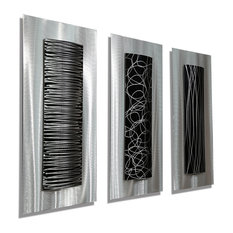Silver & Black Set of 3 Metal Wall Art Accents by Jon Allen, Trifecta