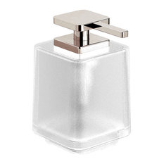 Harmoni Series Soap Dispenser With Fronsted Glass, Polished Nickel