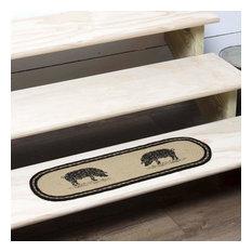 Sawyer Mill Charcoal Pig Jute Stair Tread Oval Latex 8.5X27