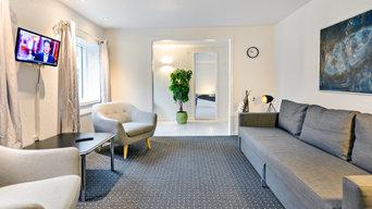 Interiørbilleder af værelser på Løgstør Park Hotel