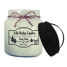Ylang Ylang Scented Jar Candles by Falls Bridge Candles, 16-Ounce, Handle Lid