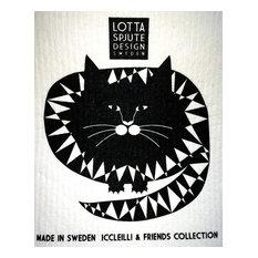 Swedish Dishcloth, Cat or Dog, Black Zigzag