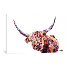 """Olivia's Highland Cow"" by Becksy, Canvas Print, 40""x26"""