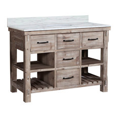 """48"""" Solid Wood Sink Vanity With Carrera White Marble Top And Round Sink"""
