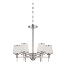 6-Light Scandinavian Chandelier, Satin Nickel