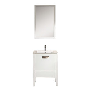 """Fine Fixtures Manchester Vanity With Mirror, White, 24"""""""