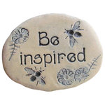 """Poemstones - Garden Stone With Saying """"Be Inspired"""", Bee Decorative Accent - Place this artistic garden stone where you will see it every day and remind yourself to"""