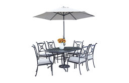 Athens 7-Piece Dining Set With Oval Dining Table, Armchairs and Umbrella