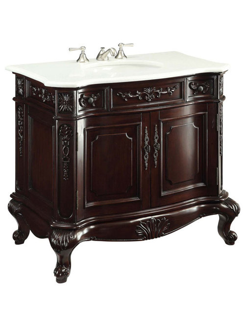 Adelina 36 Inch Antique Bathroom Vanities   Bathroom Vanities And Sink  Consoles