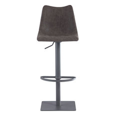 Diamond Stiching Seat With Curved Back Adjustable Stool - Matte Black