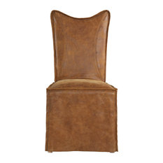 Leather Suede Side Dining Chair, Set of 2, Light Brown Slipcover