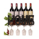 Modern Wall Mounted Wine Rack in Metal with 4 Long Stem Glass Holder