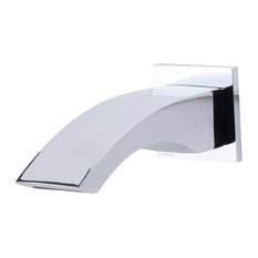Brushed Nickel Curved Wallmounted Tub Filler Bathroom Spout, Polished Chrome