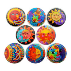 8-Piece Set Bright Sun and Moon Cabinet Knobs