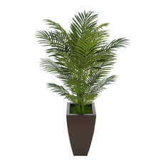 Artificial 4.5' Areca Palm, Matte Brown Tapered Square Zinc