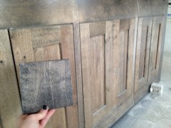 The Stain Does Not Match Sample Ill Attach A Pic Of Next To Cabinetry And Picture Swatch New Ebony From Sherwin Williams