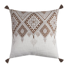Rizzy Home Cotton Fabric Pillow, Ivory Brown