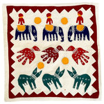 Tilonia® - Barmer Applique Pillow, Animal Motif - A parade of elephants, birds and cats stride across this appliqued pillow cover. Traditional animal patterns are in red and black appliqued on offwhite base.