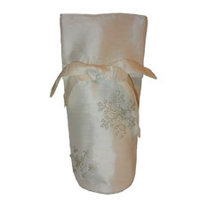 Ivory Silk Wine Bag with Silver Hand Beaded Snowflakes