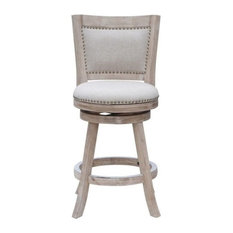 "Pemberly Row 24"" Melrose Swivel Stool, Creme Wash"