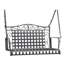 Mandalay Wrought Iron Patio Swing - Antique Black
