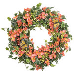 """Darby Creek Trading - Orange Yellow Alstroemeria Floral Berry and Ivy Monarch Butterfly Wreath, 30"""" - Spring/Everyday Wreath"""