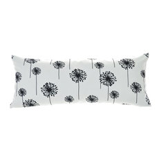 Floral Nature Dandelion Black White Cotton Premier Print Fabric Pillow Covers, 1