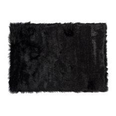 Hudson Faux Sheepskin Rug, Black, 3'x5'