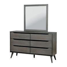 Furniture of America Farrah 6 Drawer Dresser Square Mirror Set in Gray