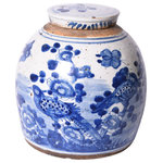 Legends of Asia - Vintage Ming Jar Flower Bird Motif-Small - Do you like vintage asian decor? If so, then you'll love our flower bird motif ming jars. These unique handcraftied pieces are painted with a blue pattern that comes with a lid.