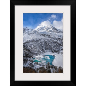 Black Icy Mountain Lake With Snow Landscape Wall Art Contemporary Prints And Posters By Design Art Usa