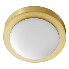 "9"" Contempo Ceiling Flush Mount, Aged Brass"
