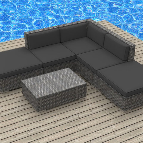 Modern Outdoor Sacramento Bali - 6pc Ultra Modern Wicker Patio Set - Modern - Outdoor Lounge Sets - Sacramento - by Urban Furnishing