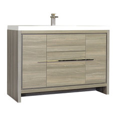 "The Modern 48"" Single Modern Bathroom Vanity, Gray, Without Mirror"