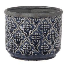 Privilege Traditional Dark Blue Round Ceramic Pot 007-00013